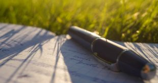 Pen lying on notebook lying on grass in the sun