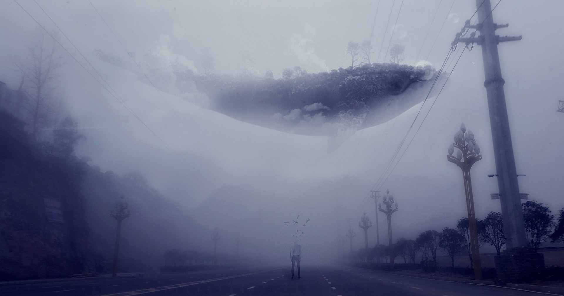 Dreamlike image of whale swimming above a street