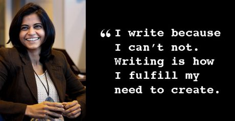 "Surya with quote ""I write because I can't not. Writing is how I fulfill my need to create."