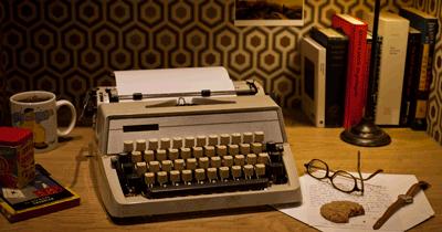Desk with typewriter