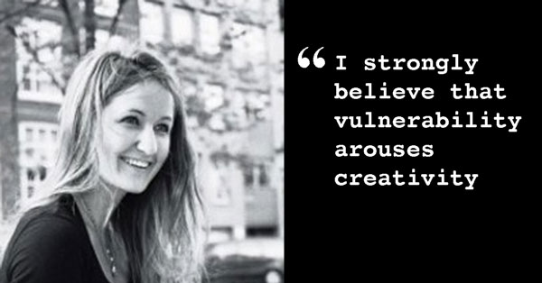 "Photo of Marie with quote: ""I strongly believe vulnerability arouses creativity"