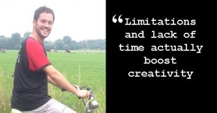 "Angel on his bike with quote: ""Limitations and lack of time actually boost creativity."""