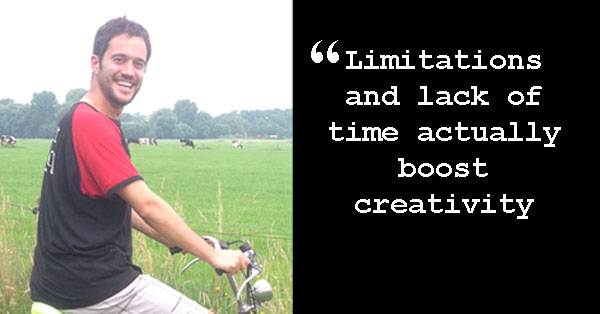 """Angel on his bike with quote: """"Limitations and lack of time actually boost creativity."""""""