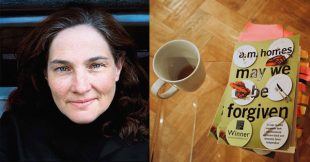 """A.M. Homes with a marked up copy of her novel """"May We Be Forgiven"""" used a craft talk for the International Writers Collective"""