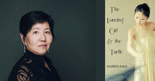 Karen Kao with the cover of her novel