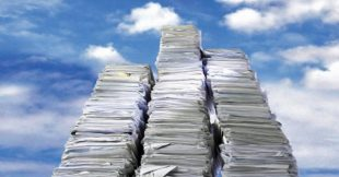 photo of stack of paper extending to the clouds meant to convey the challenge of where to submit long short stories